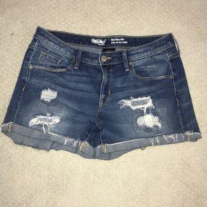 Dark Distressed Jean Shorts